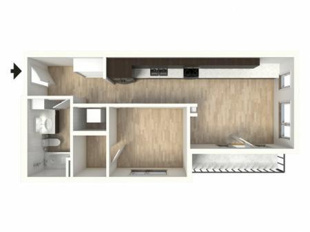 Floor Plan 17 | 1 Bedroom Apartments In Denver Colorado | Tennyson Place 2