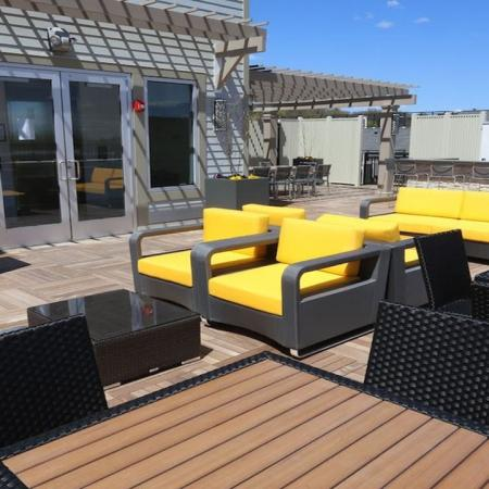 Rooftop Deck with Lounge Seating and Television | Modera 44