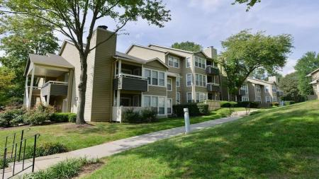 Apartment Building Exterior with Landscaping | Alister Town Center Columbia