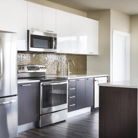 Modera Tempo | Alexandria, Virginia | Upscale kitchens with contemporary counters and tile backsplash