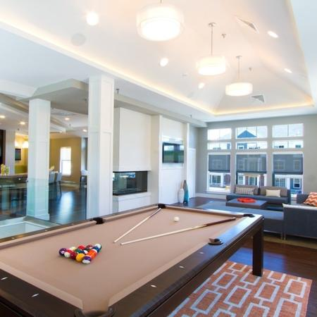 Game Room with Billiards Table, Fireplace and Televisions | Modera Natick Center