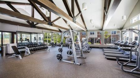 Fitness Center with Weight Machines and Treadmills   Modera Westsdie