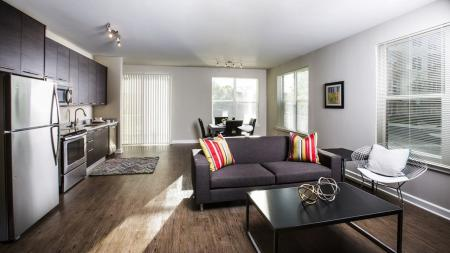 Open Apartment Kitchen and Living Area   Modera Westside