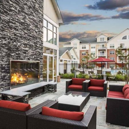 Outdoor Deck with Fireplace and Lounge | Modera Westside