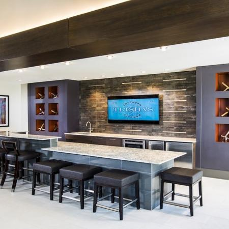 Bar and Kitchen Area in Clubhouse | Modera Westside
