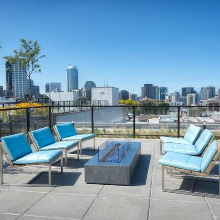 Outdoor Lounge and Fire Table | Modera Capitol Hill