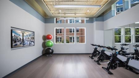 Spin Bikes in Group Fitness Studio   Modera Fairfax Ridge
