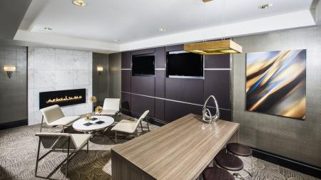 Resident Lounge with Fireplace and Televisions   Modera Fairfax Ridge