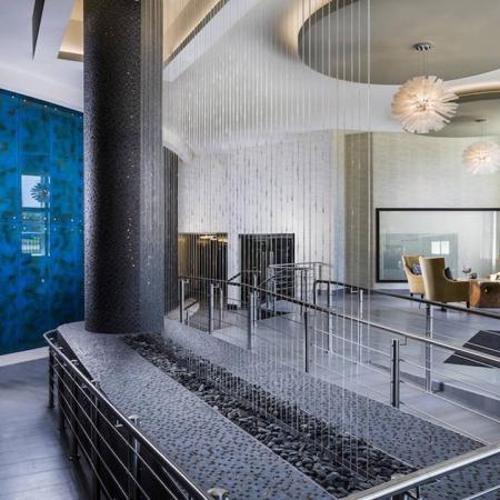Dramatic Water Feature in Lobby Entrance | Modera Fairfax Ridge
