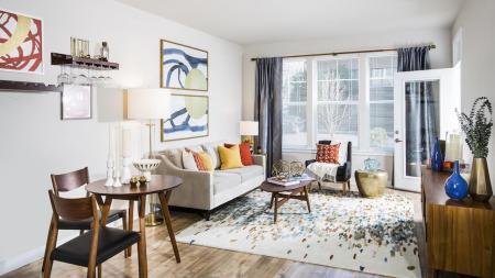 Colorful Living Area in One-Bedroom Apartment   Apartments for rent in Fairfax, VA   Modera Fairfax Ridge