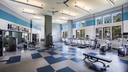 Cardio and Weight Machines in Fitness Studio   Modera Fairfax Ridge