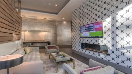 Relaxing Lounge Space with Television in our Clubhouse   Modera Glendale