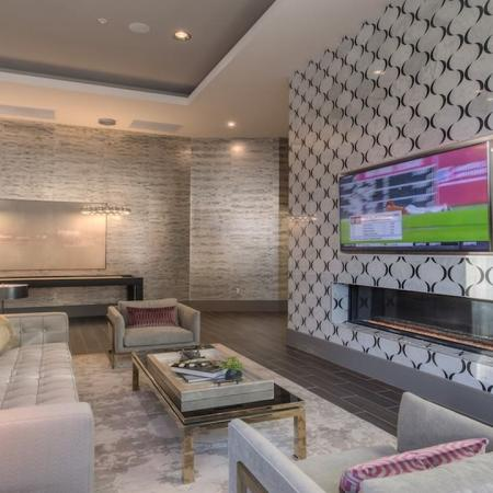 Relaxing Lounge Space with Television in our Clubhouse | Modera Glendale
