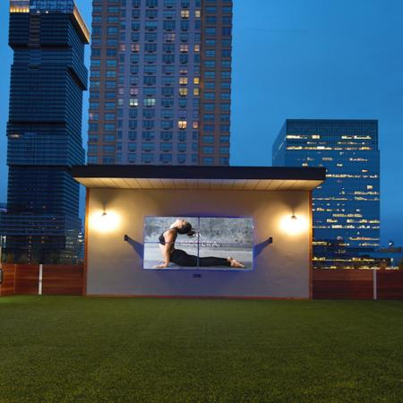 Lawn Area with TV | Apartments in Jersey City, NJ | Modera Lofts