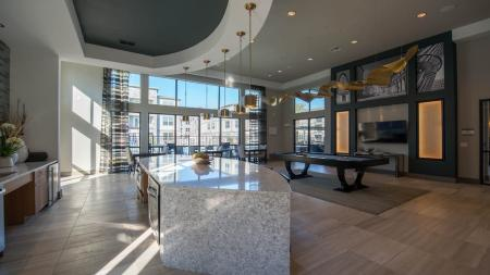 Resident Kitchen and Pool Table in Clubhouse | Modera Energy Corridor