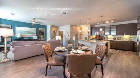 Open Apartment Layout with Dining and Living Spaces | Modera Energy Corridor