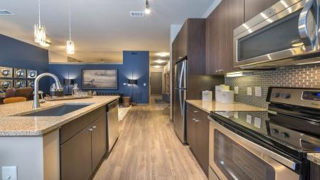 Modern Kitchen with Granite Counters and Wood Plank-Style Floors | Modera Flats