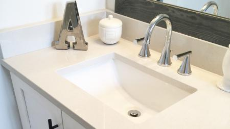 Quartz Counter and Upgraded Hardware in Bathrooms | Alister Boca Raton