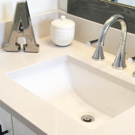 Quartz Counter and Upgraded Hardware in Bathrooms | Alister Boca Raton