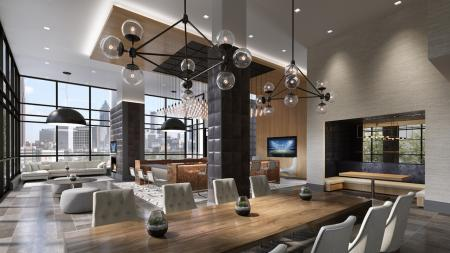 Resident Clubhouse Dining Table and Booth Seating| Penthouse Apartments in Atlanta | Modera Midtown
