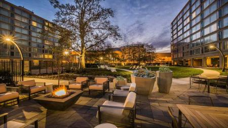 Fire Table and Outdoor Lounge at Twilight | The View at Waterfront