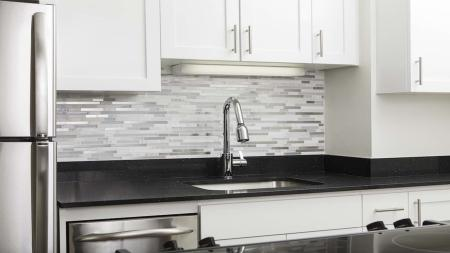 Contemporary Kitchen Faucet and Tile Backsplash | Skye At Belltown
