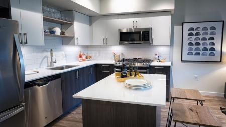 Modern Kitchen with Movable Island | Modera South Lake Union