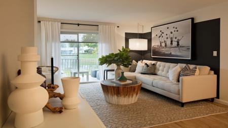Spacious Living Room with Sliding Glass Door to Patio | Alister Boca Raton