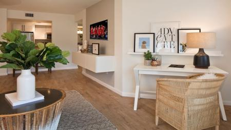 Large Living Area with Desk and TV | Alister Boca Raton