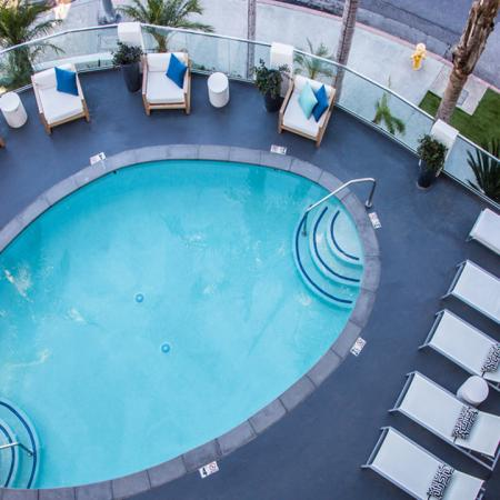 Resort-Inspired Pool Deck Aerial View | Alister Sherman Oaks