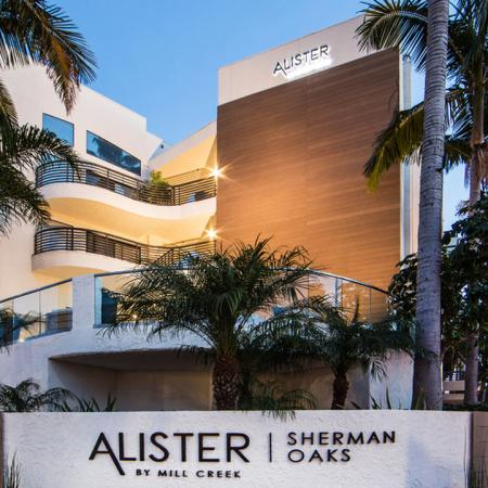 Community Exterior and Monument Sign at Twilight | Alister Sherman Oaks