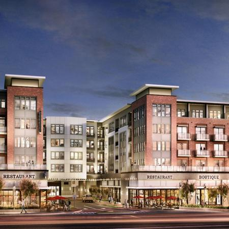 Modern Modera Sandy Springs Building Exterior with Retail | Modera Sandy Springs