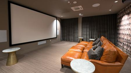 Theater Room with Dramatic Television Screen | Modera South Lake Union