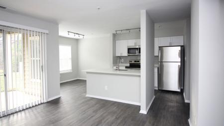 Upgraded Kitchen and Dining Nook with Sliding Glass Door | Alister Town Center Columbia