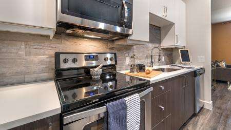 Stainless Steel Range and Microwave and Quartz Counters | Modera Near the Galleria