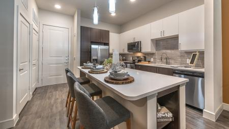 Modern Kitchen with Island and Custom Cabinets | Modera Near the Galleria