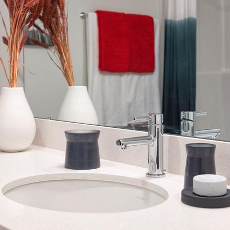 Quartz Counter and Modern Fixtures in Bathroom | Modera Ballard