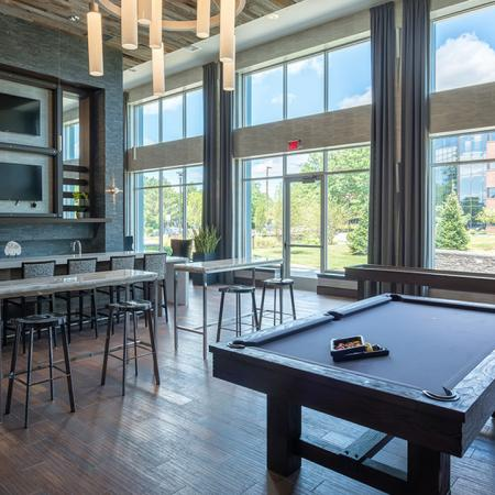 Gaming Area with Billiards Table | Modera Medford