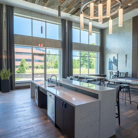 Resident Clubhouse Kitchen and Bar | Modera Medford