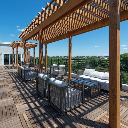 Outdoor Lounge with City Views | Modera Medford