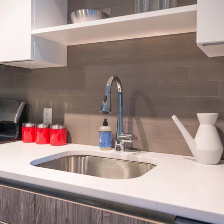 Quartz Counters and Tile Backsplash | Modera Medford