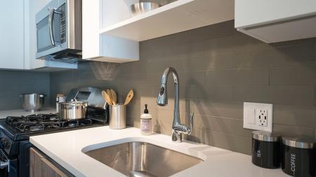 Quartz Counter and Tile Backsplash |Modera Medford