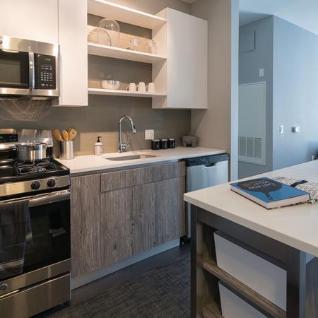 Kitchen Island in Modern Kitchen | Modera Medford