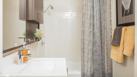 Upgraded Bathroom with Tile Surround | Skye At Belltown