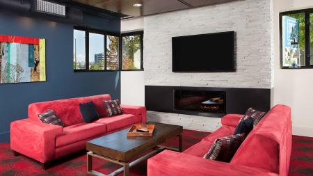 Clubroom Lounge with Fireplace | Skye at Belltown
