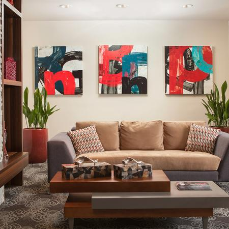 Resident Lounge with Sofa and Fireplace | Skye at Belltown