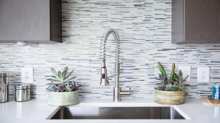 Gooseneck Kitchen Faucet and Tile Backsplash| Modera Morningside
