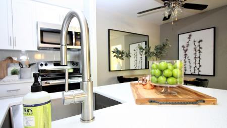 Kitchen with Quartz Counters and Upgraded Fixtures | Alister Town Center Columbia