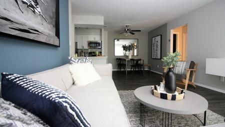 Living Area with View into Kitchen and Dining Area | Alister Town Center Columbia