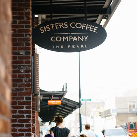 Exterior of local establishment Sisters Coffee Company